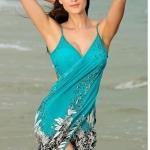 เสื้อคลุมชุดว่ายน้ำ เดิน ชายหาด ชายทะเล สไตล์ สาวยุโรป เดรสใส่คลุม ทับชุดว่ายน้ำ สี ส้ม เขียว ม่วง และ ดำ no 376871