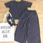 **สินค้าหมด Set_bt1563 ชุดเซ็ท 2 ชิ้น(เสื้อ+กางเกง)แยกชิ้น เสื้อคอกลมแขนสั้น กางเกงขายาวห้าส่วนเอวสม็อคยางยืด ผ้าไหมอิตาลีลายริ้วสีกรมท่า ผ้าเนื้อนุ่มใส่สบาย งานสวยน่ารักสไตล์เก๋ๆ ชิคๆ เซ็ทสองชิ้นสวยคุ้ม ใส่เก๋ๆ ได้บ่อยจ้า