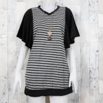 **สินค้าหมด blouse1785 เสื้อแฟชั่นไซส์ใหญ่ตัวยาว (ใส่เป็นเดรสได้) แขนระบาย คอวี ผ้ายืดเนื้อดีสีเทาริ้วดำ