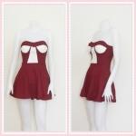 **สินค้าหมด dress2263 เดรสแฟชั่นเกาะอกเสริมฟองน้ำ ผ้าสกินนี่(ยืดได้เยอะ) สีเลือดหมู