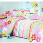 ชุดผ้าปูที่นอน ผ้าปูเตียง 6 ฟุต 3 ชิ้น ลายดอกไม้สีชมพู P002