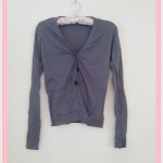 Sale!! blouse1710 เสื้อคลุมแฟชั่นผ้ายืด แขนยาว กระดุมหน้า สีเทา