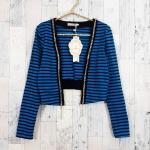 Blouse1815 งานนำเข้าสไตล์เกาหลี เสื้อคลุมแฟชั่นแขนยาว ผ้าเนื้อดีลายริ้วโทนสีฟ้าดำ ผ้าเนื้อหนาสวยยืดได้ขยายได้เยอะ