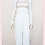 **สินค้าหมด set_bp542 ชุดเซ็ทผ้ายืดเนื้อดี(เสื้อ+กางเกง)แยกชิ้น เสื้อสั้นสายสปาเก็ตตี้ลายขวางขาวครีมเปลือกไข่+กางเกงขายาวเอวยืดผ่าหน้าสีขาว
