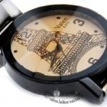 นาฬิกาข้อมือผู้หญิง สาย Stainless steel หน้าปัด สไตล์ diamon cut รูป หอไอเฟล ด้านใน สวยเก๋ ไม่ซ้ำใคร no 2006046