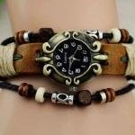 นาฬิกาข้อมือผู้หญิง นาฬิกา สายหนังถัก สไตล์ อินเดียแดง วินเทจ สุด ๆ นาฬิกาข้อมือ วัยรุ่น Hand made สายหนังถัก สุดเก๋ สีน้ำตาล 604009