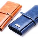 กระเป๋าสตางค์ผู้หญิง ใบยาว กระเป๋าสตางค์ หนังวัวแท้ Oil wax โชว์ ลายยับของหนัง แบบสวยหรู สไตล์ คุณนาย สีน้ำเงิน ดำ ส้ม แดง ชมพู สุดหรู 623832