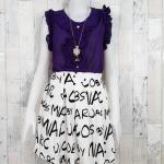 **สินค้าหมด blouse1759 เสื้อแฟชั่นงานแพลตตินั่มผ้าชีฟอง คอระบาย กระดุมอก แขนกุดแต่งระบาย สีม่วง