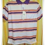 เสื้อโปโลผู้ชาย ลายขวาง คอปกสีม่วง สลับลายส้ม pl44002