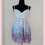**สินค้าหมด Sale!! dress2005 เดรสแฟชั่นผ้าชีฟองสายเดี่ยวชายกระโปรงลายดอกไม้ สีม่วง