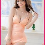 ชุดนอนสีส้มอ่อน(สีโอรส)+จีสตริง แต่งลูกไม้หน้าอกด้านข้าง สายไขว้หลัง และผูกหลัง เซ็กซี่