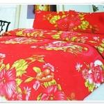 5 ฟุต 3 ชิ้น ชุดเครื่องนอน ผ้าปูที่นอนสีแดง ดอกไม้ b008
