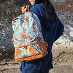 กระเป๋าเป้ สะพายหลัง ใส่เสื้อผ้า ใส่หนังสือไปเรียน ลายดอกไม้ หวาน ๆ สาวคิกขุ สไตล์ญึ่ปุ่น ผ้า Canvas สีฟ้า no 2783519_3