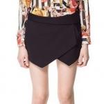 กางเกงขาสั้นผู้หญิง กางเกง กระโปรง สีดำ กางเกง ดีไซน์ ด้านหน้า เป็นผ้าปิด เป็น กระโปรงสั้น แบบสวย แฟชั่น ยุโรป 31853