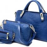 กระเป๋าถือผู้หญิง กระเป๋าสะพาย กระเป๋าใส่เศษสตางค์ ซื้อ 1 ได้ 3 ใบ Set กระเป๋าถือ ผู้หญิง หนัง Pu พิมพ์ลายหัวใจ สีน้ำเงิน ดำ เหลือง 521000