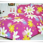 ชุดผ้าปูเตียง ผ้าปูที่นอน Cotton 6 ฟุต 3 ชิ้น สีชมพูเข้ม ลายดอกไม้ B031