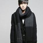 ผ้าพันคอกันหนาว ไหมพรม เกาหลี สีดำเทา แต่งเล่นลาย เท่ๆ พร้อมส่ง