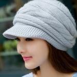 หมวกแฟชั่น หมวกไหมพรมถัก สำหรับผู้หญิง หมวกไหมพรม ใส่เที่ยว ใส่กันแดด กันร้อน สวยใส สไตล์วัยรุ่น สีเทา 92518_4