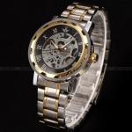 นาฬิกาข้อมือสแตนเลส แบบโชว์กลไกด้านใน นาฬิกาข้อมือผู้ชาย แบบไม่ใช้ถ่าน สแตนเลส สีเงิน สลับทอง เรียบหรู มีสไตล์ ของขวัญให้แฟนสุดหรู 268605