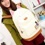 กระเป๋าสะพายหลัง กระเป๋าเป้ ผ้า canvas หรือ ผ้ายีนส์ กระเป๋าใส่หนังสือ ไปเรียนได้ แฟชั่น ญี่ปุ่น หูแมว น่ารักสุด ๆ สีเบจ ครีม no 4833060_1