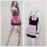 **สินค้าหมด Sale!! dress1872 เดรสแฟชั่น เสื้อสายเดี่ยวสีดำ ตัดต่อกระโปรงชีฟองระบายชั้น สีชมพูอ่อน