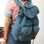 กระเป๋าเป้ สะพายหลัง กระเป๋าสะพายหลัง ผ้าแคนวาส อย่างดี ออกแบบเป็นทรงถุง มีที่ปิด ดีไซน์สวย ใช้ได้ทั้ง ผู้หญิง และ ผู้ชาย สีน้ำเงิน ใส ๆ 389296_1