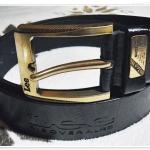 เข็มขัดหนังแท้ Lee หนังสีดำ หัวเข็มขัดสีทองเหลือง L2303