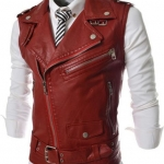 เสื้อ Jacket หนัง ผู้ชาย แจ็คเก็ตหนังแขนสั้น แบบเสื้อกั๊ก ดีไซน์ ตกแต่ง ซิป ด้านหน้า แบบเท่ ๆ สไตล์ อเมริกัน สีแดง no 78133_1