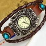 นาฬิกาข้อมือผู้หญิง นาฬิกาสายหนังแท้ หนังถัก สีน้ำตาล หน้าปัดแกะลาย สวยเก๋ สไตล์วินเทจ นาฬิกา วัยรุ่น เท่ ๆ ติดคริสตัล ฟ้า งาน Hand made 110496
