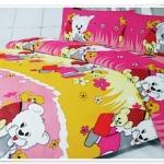 5 ฟุต 3 ชิ้น ชุดเครื่องนอน ผ้าปูที่นอน ลายหมี สีโทนส้ม ชมพู b005