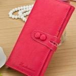 กระเป๋าสตางค์ใบยาว ผู้หญิง กระเป๋าหนัง สีพื้น สีชมพู กุหลาบ  มีกระดุมปิดหน้ากระเป๋า no 87672_2
