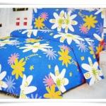 ชุดผ้าปูเตียง ผ้าปูที่นอน Cotton 6 ฟุต 3 ชิ้น สีน้ำเงิน ลายดอกไม้ B030