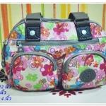 กระเป๋าถือ กระเป๋าสะพาย Kipling ลายดอกไม้สีชมพู K111