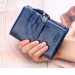 กระเป๋าสตางค์ผู้หญิง ใบสั้น กระเป๋าสตางค์ หนังวัวแท้ ลง Oil wax ใช้ยิ่งนาน ยิ่งสวย มีช่องใส่บัตรเยอะ มีช่องใส่เหรียญ สีน้ำเงินเข้ม กรมท่า สวยหรู 764078_1
