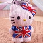 เคส iPhone 6 6plus 5.5inch 4g 4s 5g 5 5c เคส Diy 3 มิติ เคส ติดคริสตัล ไขมุก เพชร ลาย คิตตี้ ตัวใหญ่ ใส่เสื้อ ธงชาติ อังกฤษ 134903