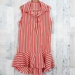 SALE!! dress3417 ชุดเดรสน่ารักคอปกเชิ้ตทรงหางปลา หน้าสั้นหลังยาว ผ้าไหมอิตาลีเนื้อนิ่มลายริ้วใหญ่ สีขาวส้ม