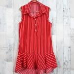 SALE!! dress3425 ชุดเดรสน่ารักคอปกเชิ้ตทรงหางปลา หน้าสั้นหลังยาว ผ้าไหมอิตาลีเนื้อนิ่มลายริ้วเล็ก สีแดง