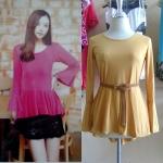 **สินค้าหมด Sale!! dress1878 เดรสแฟชั่นผ้าเนื้อดีแขนยาวกระดิ่ง ชายระบายด้านหลังยาว สีเหลืองมัสตาร์ด