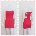 **สินค้าหมด dress2309 ขายส่งเสื้อผ้าแฟชั่น เดรสแฟชั่นเกาะอกเสริมฟองน้ำบาง หลังริ้วเป็นเส้นๆ ซิปหลัง ผ้าสกินนี่(ยืดได้เยอะ) สีแดงอมชมพู Size L
