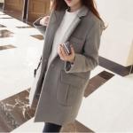 เสื้อโค้ทกันหนาว สไตล์เกาหลี ทรงสวย Classic บุซับในกันลม ใส่แบบตั้งปกขึ้นก็เก๋ สีเทา พร้อมส่ง