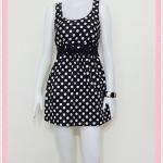 **สินค้าหมด Sale!! dress2046 เดรสแฟชั่นผ้าคอตตอน โบว์เอว แขนกุด สีดำลายจุดขาว