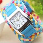 นาฬิกาข้อมือสายหนังถัก งาน Handmade สไตล์วินเทจ นาฬิกาข้อมือผู้หญิง แฟชั่นเก๋ ๆ หนังถักสลับสี โทน สีฟ้า no 201419_4