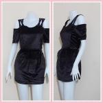 **สินค้าหมด dress2608 เดรสแฟชั่นแขนสั้นเปิดไหล่ เอวยืดด้านหลัง ผ้ากำมะหยี่สีน้ำตาล