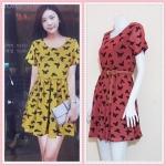** สินค้าหมด dress2806 ชุดเดรสแฟชั่นไซส์ใหญ่แขนสั้น ผ้ายืดซีทรูลายผีเสื้อมีซับในสีส้มอิฐ (ไม่รวมเข็มขัด)