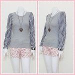 **สินค้าหมด blouse1703 เสื้อแฟชั่นผ้าคอตตอนสีพื้นตัดต่อแขนยาวลายสก็อต สีเทา รอบอก 36 นิ้ว