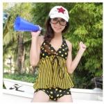 ชุดว่ายน้ำ ทูพีช แบบไม่โป้ ลายจุด สีดำ ลายจุด สีเหลือง สายคล้องคอ ชุดว่ายน้ำ แบบพรางหน้าท้อง กางเกงขาสั้น ใส่เล่นน้ำ อย่างมั่นใจ 83452_1