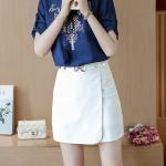 **สินค้าหมด Skirt309-White กระโปรงแฟชั่นเกาหลี กระโปรงป้ายซิปหลังผ้าเนื้อหนาสวยสีพื้นขาวแต่งหัวเข็มขัด งานน่ารักผ้านุ่มใส่สบาย แมทช์กับเสื้อได้หลายแบบ