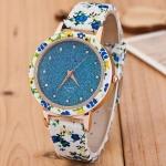 นาฬิกาข้อมือ วัยรุ่น สายหนัง pu ลายดอกไม้ ใส่เข้า กับ ชุดเดรส นาฬิกาข้อมือ แฟนซี ลายดอกไม้ สีฟ้า น้ำตาล เขียว ดำ แบบสวย 929880