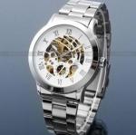 นาฬิกาข้อมือ โชว์กลไก Mechanical watch นาฬิกาไม่ต้องใช้ถ่าน นาฬิกาข้อมือผู้ชาย สาย Stainless Steel หน้าปัดขาว ลายก้างปลา ของขวัญสุดหรู 673953