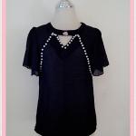 **สินค้าหมด Sale!! blouse1630 เสื้อแฟชั่นผ้าชีฟองสีพื้นปักมุกแขนระบาย สีดำ